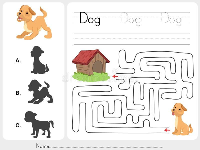 Παιχνίδι λαβυρίνθου και σκυλί αντιστοιχιών με τη σκιά ελεύθερη απεικόνιση δικαιώματος