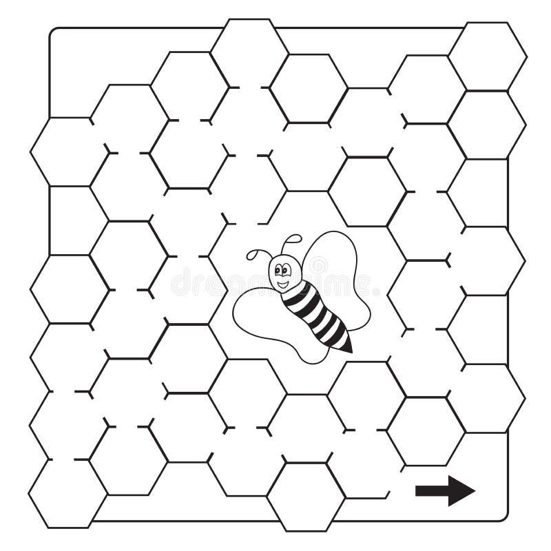 Παιχνίδι λαβυρίνθου μελισσών κινούμενων σχεδίων - χρωματίζοντας σελίδες βιβλίων για τα παιδιά ελεύθερη απεικόνιση δικαιώματος