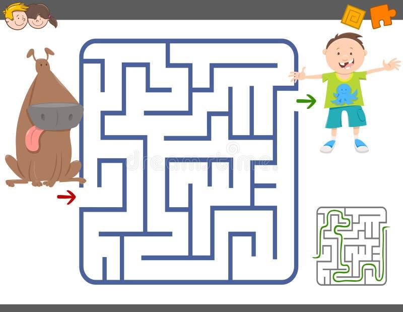 Παιχνίδι λαβυρίνθου με το αγόρι και το σκυλί απεικόνιση αποθεμάτων