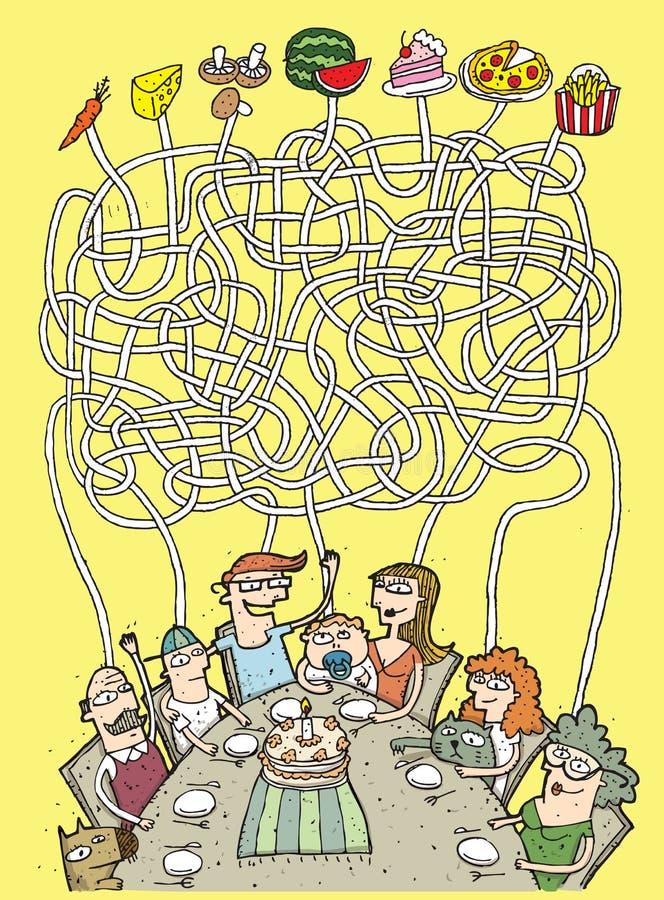 Παιχνίδι λαβυρίνθου οικογένειας και τροφίμων ελεύθερη απεικόνιση δικαιώματος
