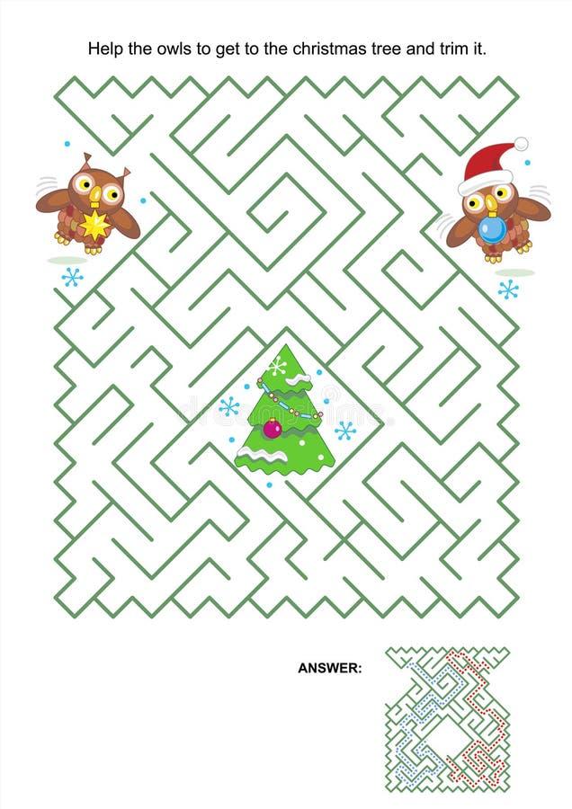 Παιχνίδι λαβυρίνθου - οι κουκουβάγιες τακτοποιούν το χριστουγεννιάτικο δέντρο διανυσματική απεικόνιση