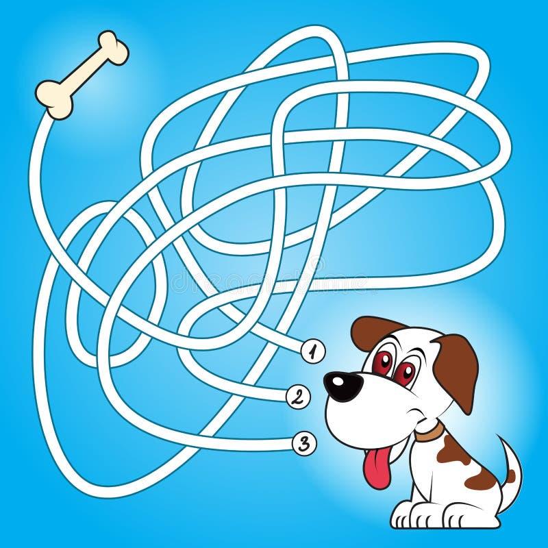 Παιχνίδι λαβυρίνθου σκυλιών και κόκκαλων απεικόνιση αποθεμάτων