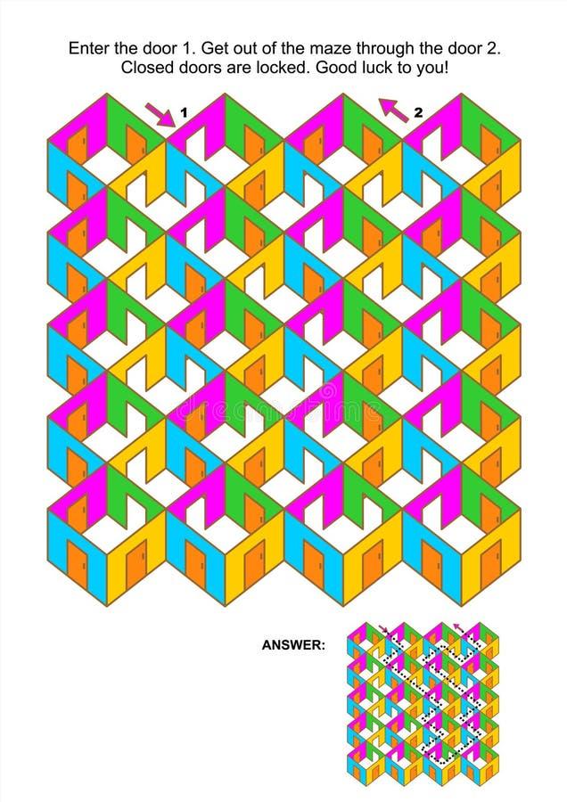 Παιχνίδι λαβυρίνθου δωματίων και πορτών απεικόνιση αποθεμάτων