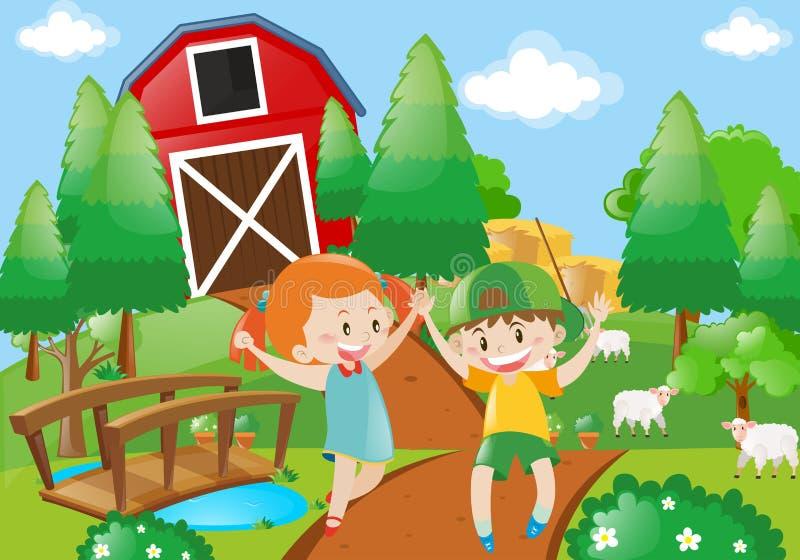 Παιχνίδι αγοριών και κοριτσιών στην αυλή διανυσματική απεικόνιση
