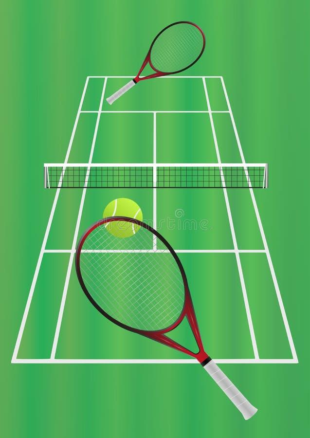 Παιχνίδι αντισφαίρισης στο δικαστήριο χλόης ελεύθερη απεικόνιση δικαιώματος