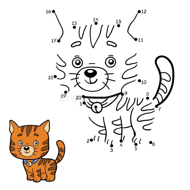 Παιχνίδι αριθμών για τα παιδιά (γάτα πιπεροριζών) διανυσματική απεικόνιση