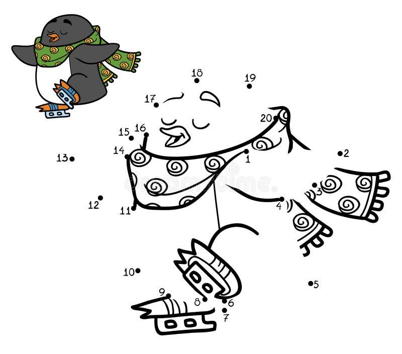 Παιχνίδι αριθμών για τα παιδιά, σημείο που διαστίζει, penguin στα σαλάχια απεικόνιση αποθεμάτων