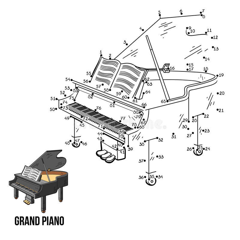 Παιχνίδι αριθμών: μουσικά όργανα (μεγάλο πιάνο) ελεύθερη απεικόνιση δικαιώματος
