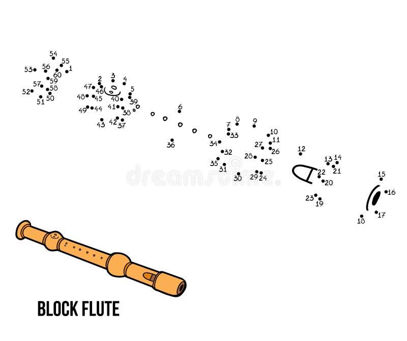 Παιχνίδι αριθμών: μουσικά όργανα (φλάουτο φραγμών) απεικόνιση αποθεμάτων