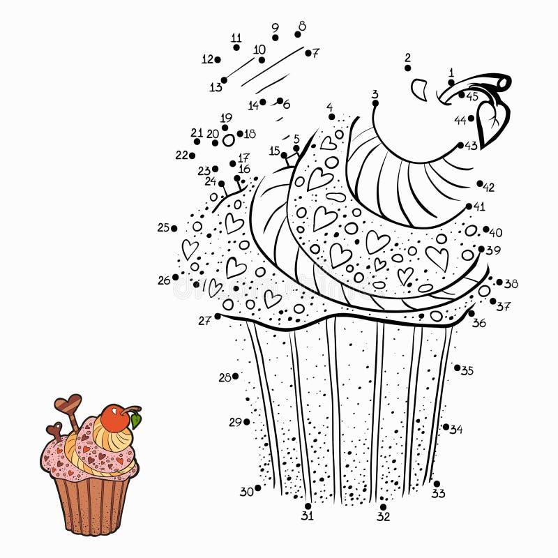 Παιχνίδι αριθμών (cupcake) διανυσματική απεικόνιση