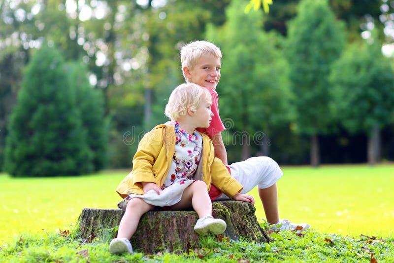 Παιχνίδι αδελφών και αδελφών στο πάρκο φθινοπώρου στοκ εικόνες