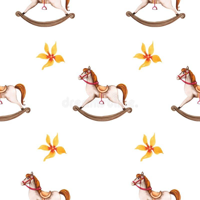 Παιχνίδι αλόγων ταλάντευσης και άνευ ραφής σχέδιο λουλουδιών διανυσματική απεικόνιση