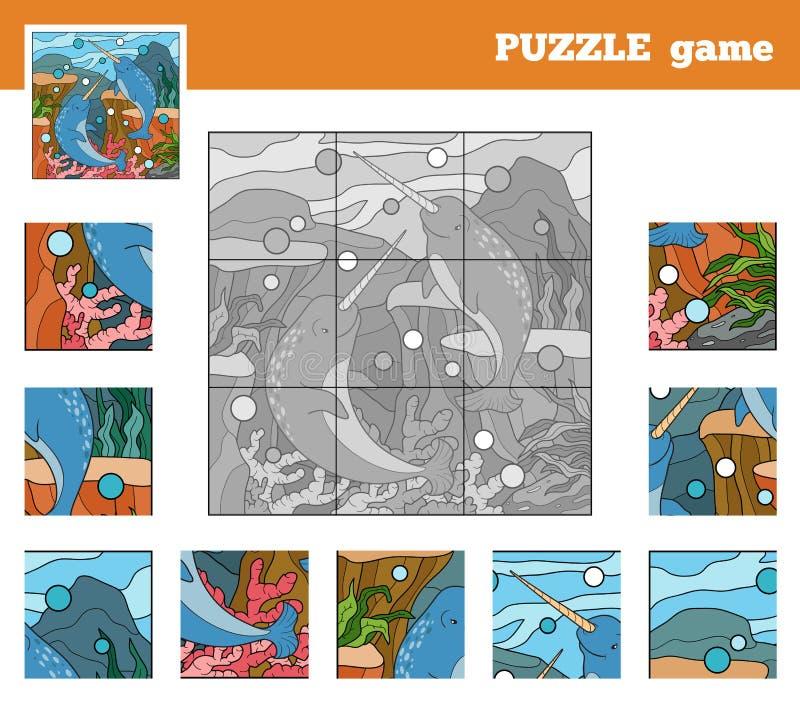 Παιχνίδι γρίφων για τα παιδιά με τα ζώα (κόσμος θάλασσας narwhals) ελεύθερη απεικόνιση δικαιώματος