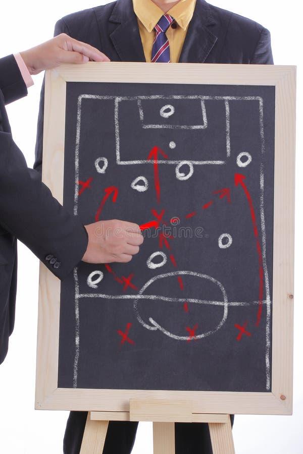 Παιχνίδι επίθεσης σχεδίων διευθυντών ποδοσφαίρου στοκ φωτογραφίες
