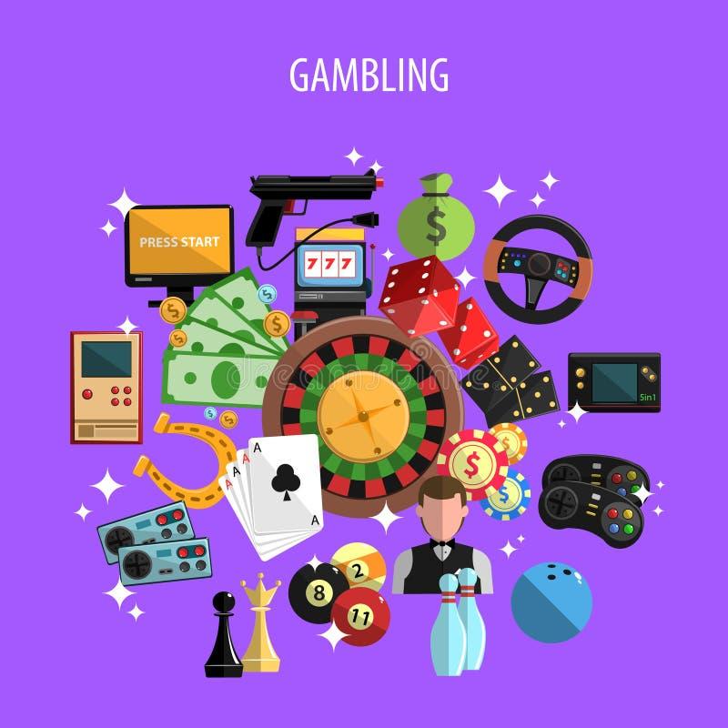 Παιχνίδι και έννοια παιχνιδιών διανυσματική απεικόνιση
