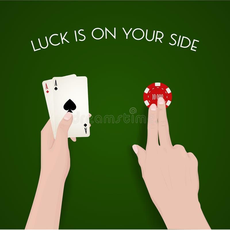 Παιχνίδι και τύχη, έμπορος, πράσινο ύφασμα, τύχη διανυσματική απεικόνιση