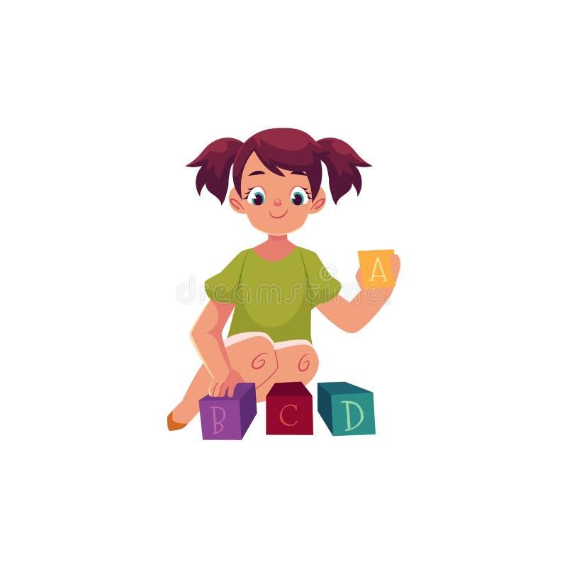 Παιχνίδι μικρών κοριτσιών με το αλφάβητο παιχνιδιών, φραγμοί ABC διανυσματική απεικόνιση