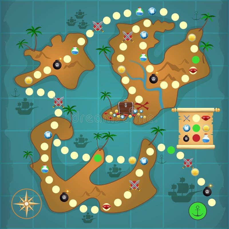 Παιχνίδι νησιών θησαυρών πειρατών απεικόνιση αποθεμάτων