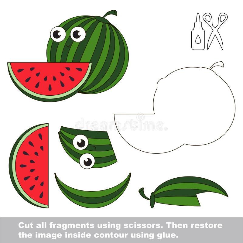 Παιχνίδι παιδιών εγγράφου Εύκολη εφαρμογή για τα παιδιά με το γλυκό καρπούζι διανυσματική απεικόνιση