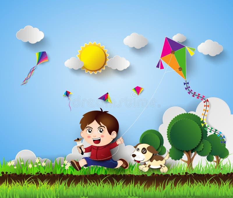 Παιχνίδι παιδιών με τον ικτίνο ελεύθερη απεικόνιση δικαιώματος