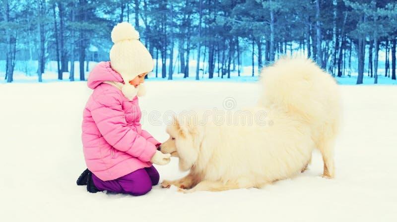 Παιχνίδι παιδιών με το άσπρο σκυλί Samoyed το χειμώνα στοκ φωτογραφία