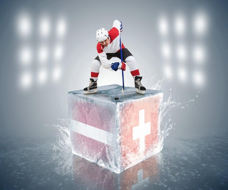 Παιχνίδι πρωταθλημάτων της Λετονίας - της Ελβετίας. Έτοιμος για πρόσωπο-από το φορέα στον κύβο πάγου. στοκ εικόνες
