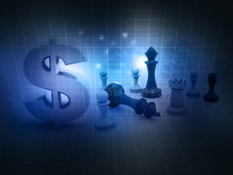 Παιχνίδι σκακιού και σημάδι δολαρίων στοκ εικόνες