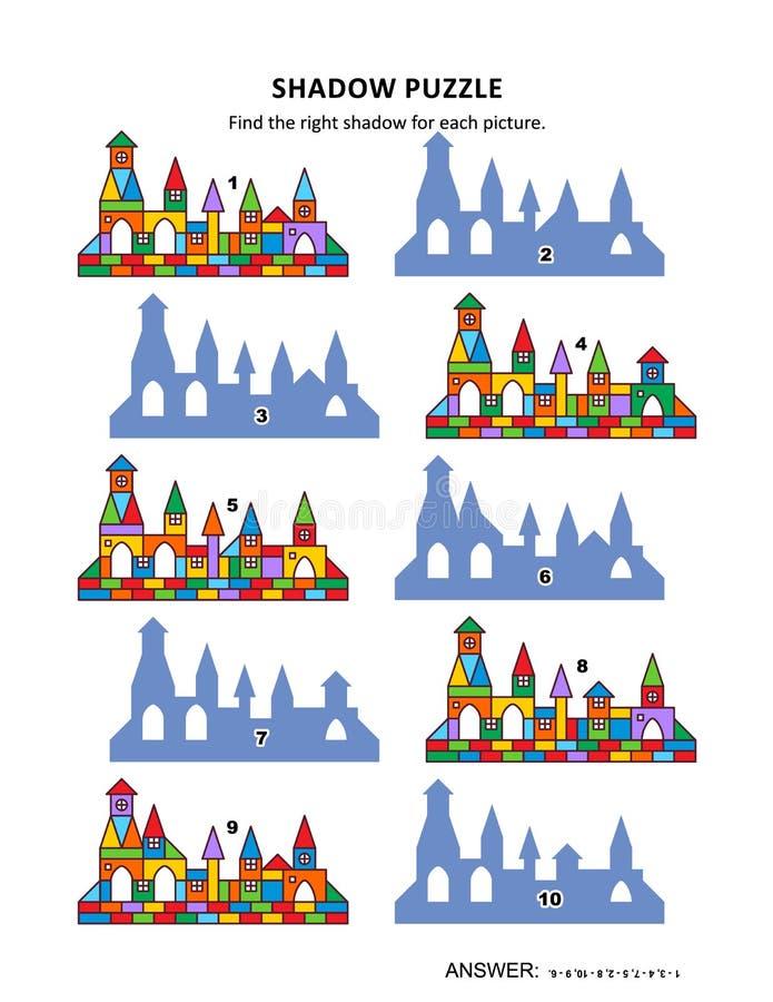 Παιχνίδι σκιών με τα πόλης κτήρια παιχνιδιών ελεύθερη απεικόνιση δικαιώματος