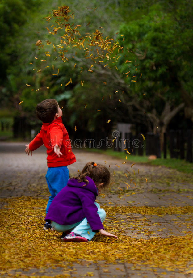 παιχνίδι φύλλων φθινοπώρο&upsi στοκ φωτογραφία με δικαίωμα ελεύθερης χρήσης