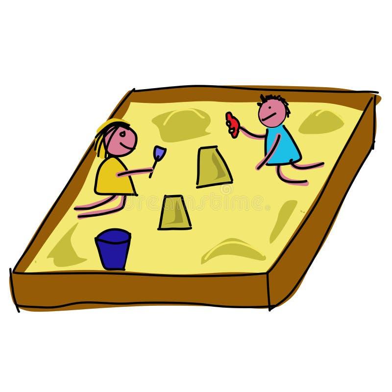 Παιχνίδι Childs σε ένα σκάμμα διανυσματική απεικόνιση