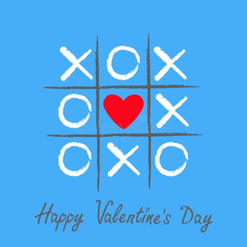 Παιχνίδι toe TAC σπασμού με το διαγώνιο και κόκκινο σημάδι XOXO σημαδιών καρδιών criss Συρμένη χέρι βούρτσα Γραμμή Doodle Ευτυχές ελεύθερη απεικόνιση δικαιώματος