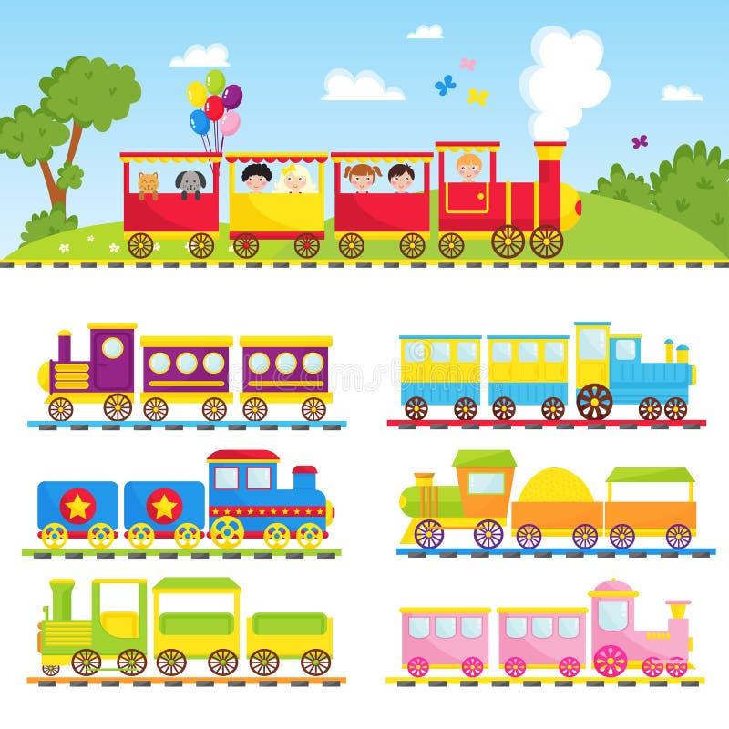 Παιχνιδιών δώρων παιδιών κινητήρια απεικόνιση παιχνιδιών μεταφορών σιδηροδρόμου ταξιδιού τραίνων διανυσματική διανυσματική απεικόνιση