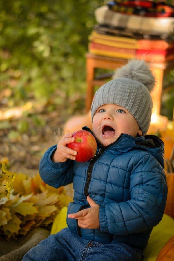 Παιδάκι με το μήλο στοκ φωτογραφία με δικαίωμα ελεύθερης χρήσης