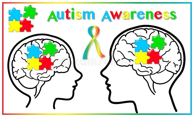 Παιδί αυτισμού και ενήλικα γραφικά στοιχεία συνειδητοποίησης διανυσματική απεικόνιση