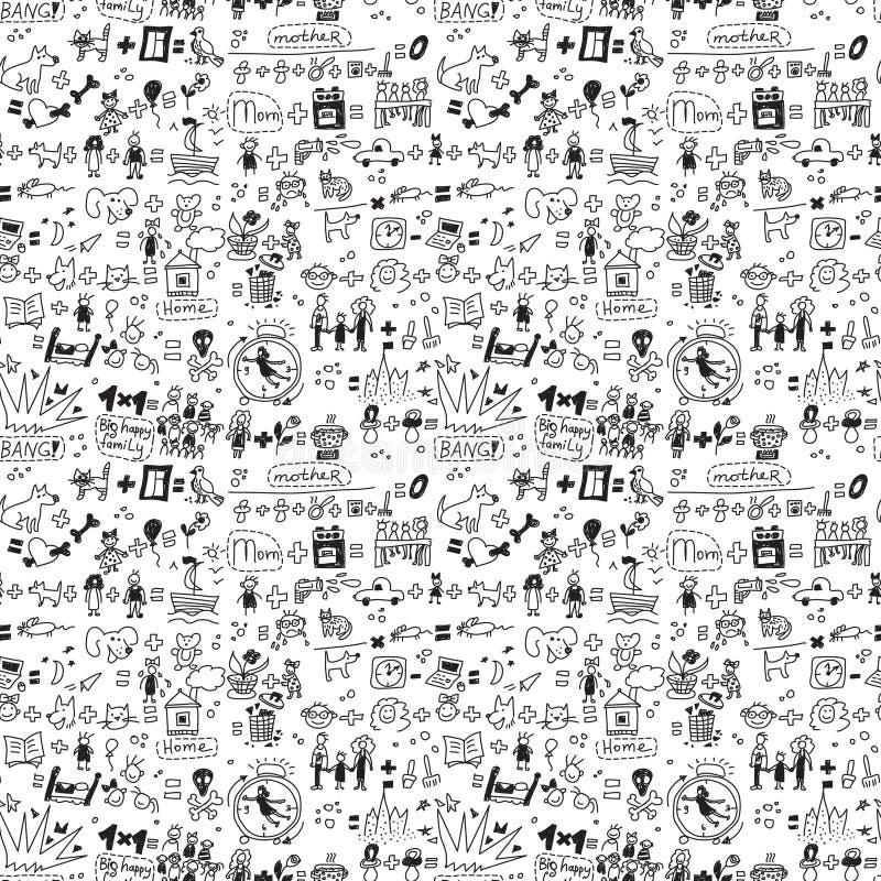 Παιδί και κατοικίδια ζώα οικογενειακών άνευ ραφής σχεδίων μονοχρωματικά διανυσματική απεικόνιση