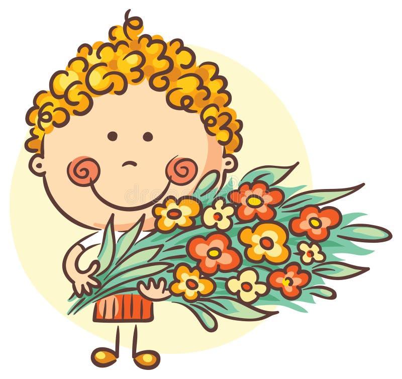 Παιδί με μια μεγάλη ανθοδέσμη των λουλουδιών απεικόνιση αποθεμάτων