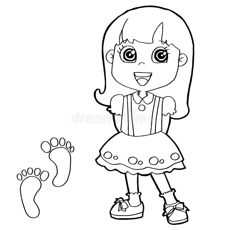 Παιδί με το διάνυσμα σελίδων χρωματισμού τυπωμένων υλών ποδιών διανυσματική απεικόνιση