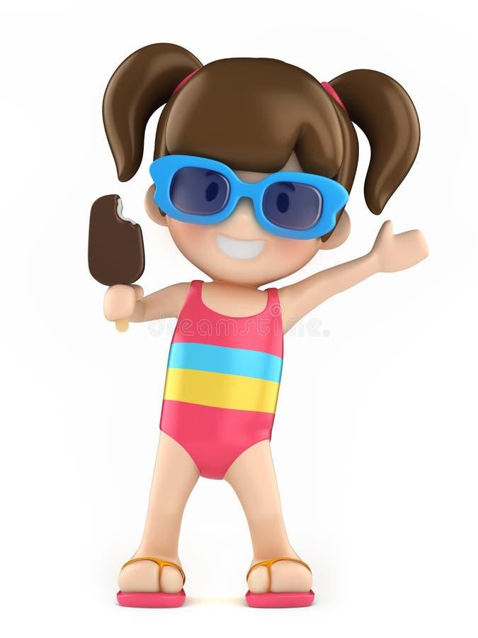 Παιδί με το ραβδί popsicle ελεύθερη απεικόνιση δικαιώματος