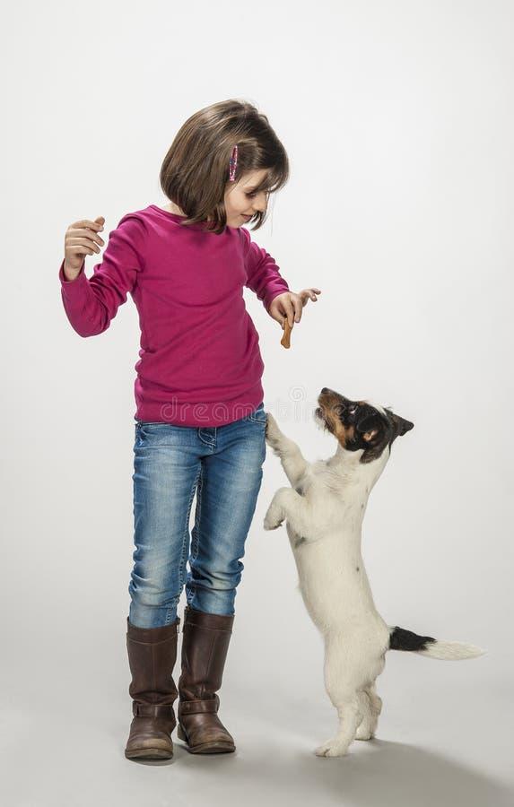 Παιδί που ανταμείβει το σκυλί της στοκ εικόνες