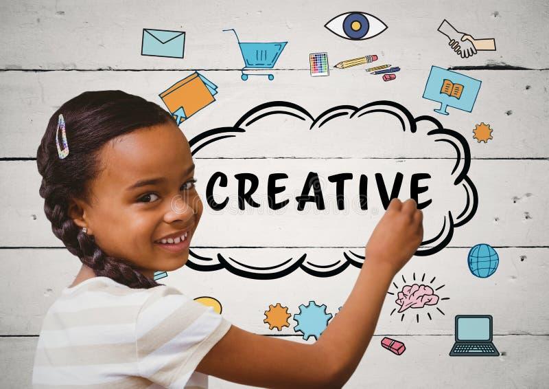 Παιδί που γράφει τα δημιουργικά doodles στη λευκιά ξύλινη επιτροπή διανυσματική απεικόνιση