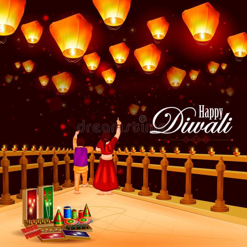 Παιδί που δείχνει το λαμπτήρα ουρανού με την κροτίδα για ευτυχές Diwali διανυσματική απεικόνιση