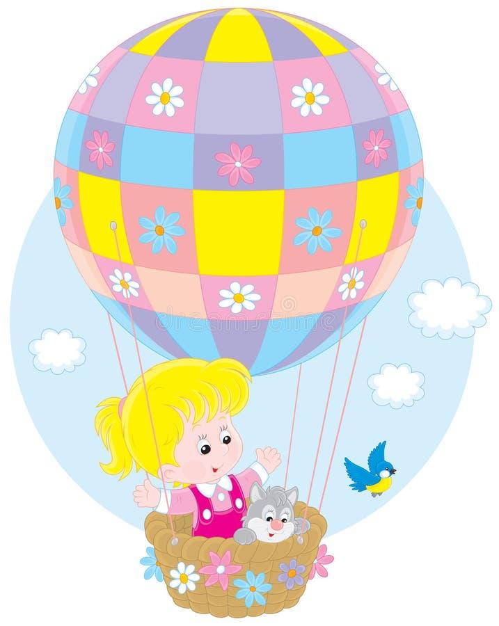 Παιδί που πετά σε ένα μπαλόνι διανυσματική απεικόνιση