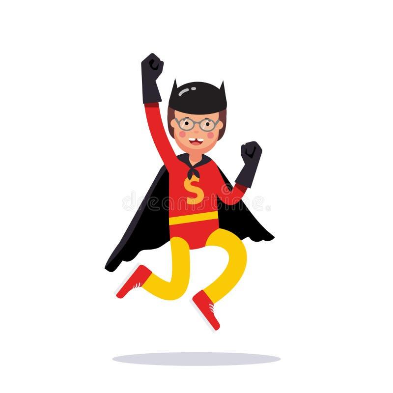 Παιδί που προσποιείται να είναι έξοχος μελαχροινός ιππότης ηρώων διανυσματική απεικόνιση