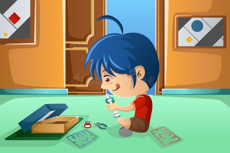 Παιδί που συγκεντρώνει ένα ρομπότ διανυσματική απεικόνιση