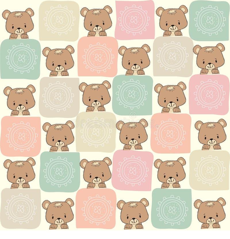 Παιδαριώδες άνευ ραφής σχέδιο με τη teddy αρκούδα διανυσματική απεικόνιση