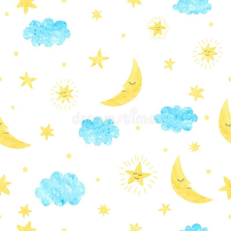 Παιδαριώδες άνευ ραφής σχέδιο με το φεγγάρι, τα σύννεφα και τα αστέρια ελεύθερη απεικόνιση δικαιώματος