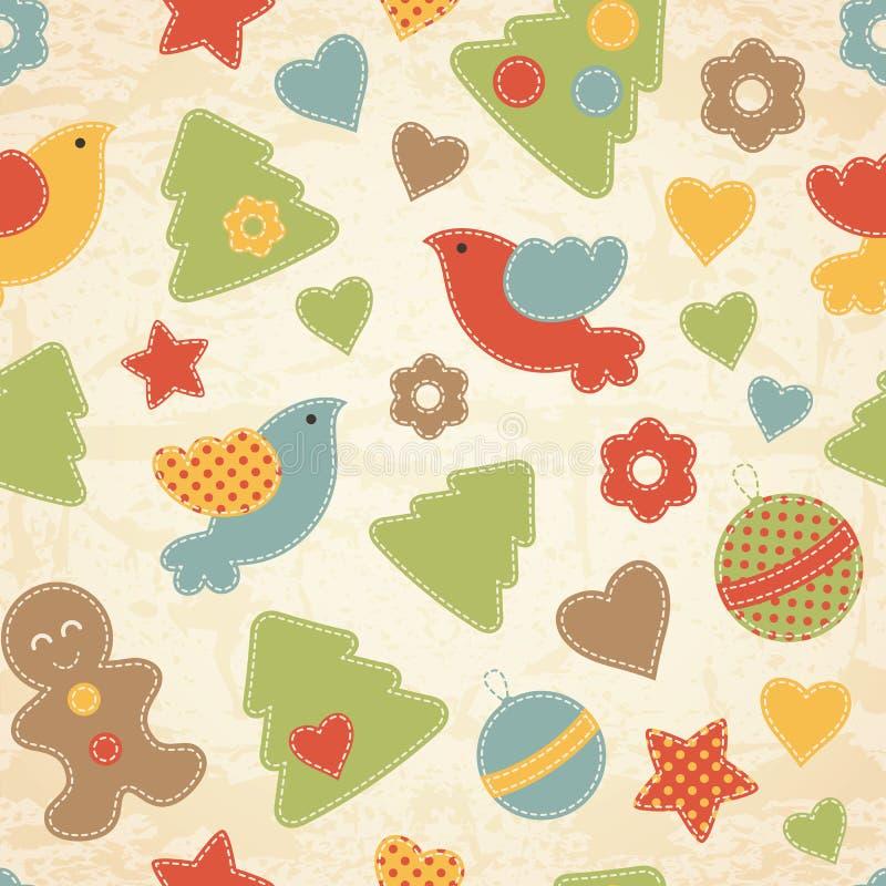 Παιδαριώδες άνευ ραφής σχέδιο Χριστουγέννων με τα χριστουγεννιάτικα δέντρα, πουλιά, άτομα μελοψωμάτων ελεύθερη απεικόνιση δικαιώματος