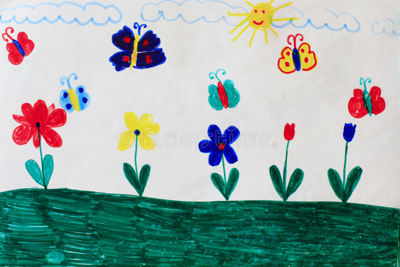Παιδαριώδες σχέδιο των πεταλούδων και των λουλουδιών ελεύθερη απεικόνιση δικαιώματος