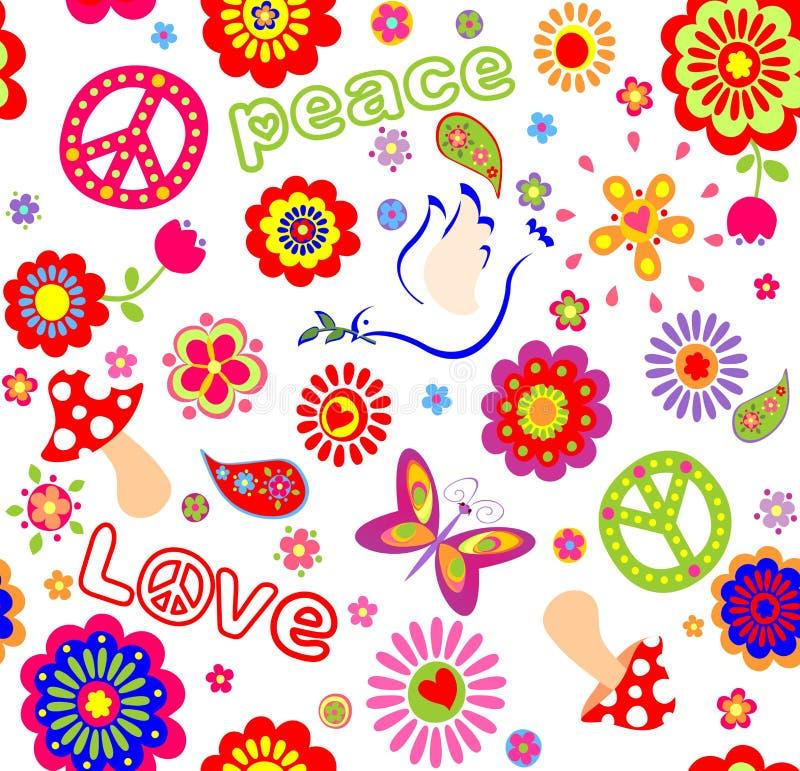Παιδαριώδης άνευ ραφής ταπετσαρία με τα ζωηρόχρωμα αφηρημένα λουλούδια, χίπης συμβολικός, μανιτάρια και περιστέρι διανυσματική απεικόνιση
