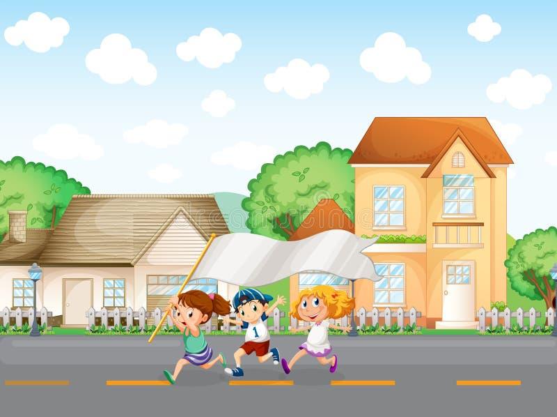 Παιδιά έξω από τα μεγάλα σπίτια με ένα κενό έμβλημα ελεύθερη απεικόνιση δικαιώματος